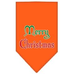 Mirage Pet Products Merry Christmas Screen Print Bandana Orange Large