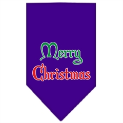 Mirage Pet Products Merry Christmas Screen Print Bandana Purple Large