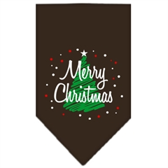 Mirage Pet Products Scribble Merry Christmas Screen Print Bandana Cocoa Small
