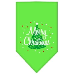 Mirage Pet Products Scribble Merry Christmas Screen Print Bandana Lime Green Small