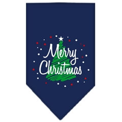Mirage Pet Products Scribble Merry Christmas Screen Print Bandana Navy Blue Small