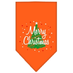 Mirage Pet Products Scribble Merry Christmas Screen Print Bandana Orange Small
