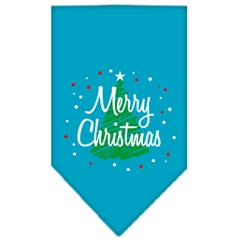 Mirage Pet Products Scribble Merry Christmas Screen Print Bandana Turquoise Small