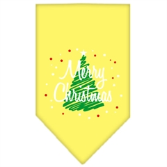 Mirage Pet Products Scribble Merry Christmas Screen Print Bandana Yellow Large