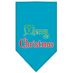 Mirage Pet Products Merry Christmas Screen Print Bandana Turquoise Small