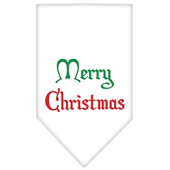 Mirage Pet Products Merry Christmas Screen Print Bandana White Small