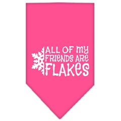 Mirage Pet Products All my friends are Flakes Screen Print Bandana Bright Pink Large