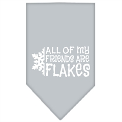 Mirage Pet Products All my friends are Flakes Screen Print Bandana Grey Small