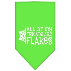 Mirage Pet Products All my friends are Flakes Screen Print Bandana Lime Green Small