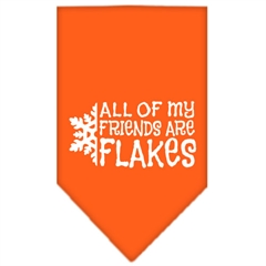 Mirage Pet Products All my friends are Flakes Screen Print Bandana Orange Small