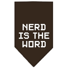 Mirage Pet Products Nerd is the Word Screen Print Bandana Cocoa Large