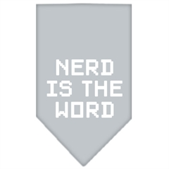 Mirage Pet Products Nerd is the Word Screen Print Bandana Grey Large