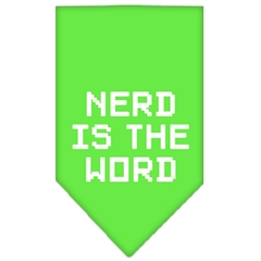 Mirage Pet Products Nerd is the Word Screen Print Bandana Lime Green Large
