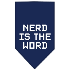 Mirage Pet Products Nerd is the Word Screen Print Bandana Navy Blue large