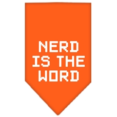 Mirage Pet Products Nerd is the Word Screen Print Bandana Orange Large