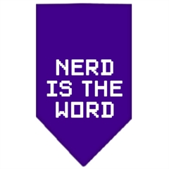 Mirage Pet Products Nerd is the Word Screen Print Bandana Purple Large