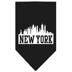 Mirage Pet Products New York Skyline Screen Print Bandana Black Large