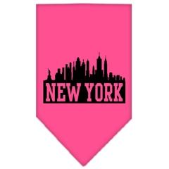 Mirage Pet Products New York Skyline Screen Print Bandana Bright Pink Small
