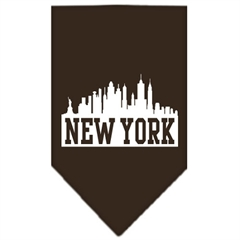 Mirage Pet Products New York Skyline Screen Print Bandana Cocoa Large