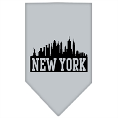 Mirage Pet Products New York Skyline Screen Print Bandana Grey Large