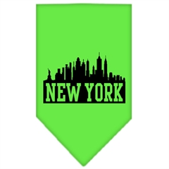 Mirage Pet Products New York Skyline Screen Print Bandana Lime Green Large