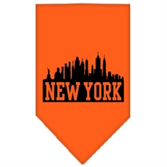 Mirage Pet Products New York Skyline Screen Print Bandana Orange Large