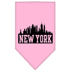 Mirage Pet Products New York Skyline Screen Print Bandana Light Pink Large