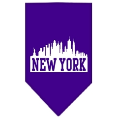 Mirage Pet Products New York Skyline Screen Print Bandana Purple Small