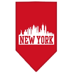 Mirage Pet Products New York Skyline Screen Print Bandana Red Small