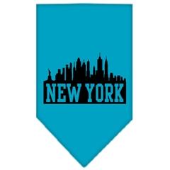 Mirage Pet Products New York Skyline Screen Print Bandana Turquoise Small