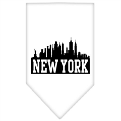 Mirage Pet Products New York Skyline Screen Print Bandana White Large