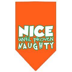 Mirage Pet Products Nice until proven Naughty Screen Print Pet Bandana Orange Size Small