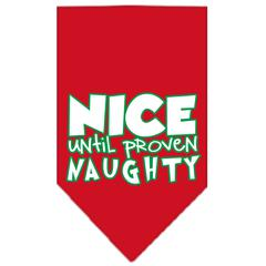 Mirage Pet Products Nice until proven Naughty Screen Print Pet Bandana Red Size Small