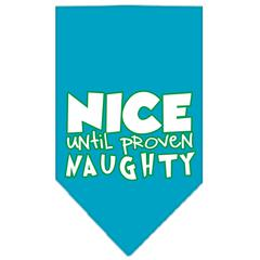 Mirage Pet Products Nice until proven Naughty Screen Print Pet Bandana Turquoise Size Small