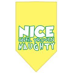 Mirage Pet Products Nice until proven Naughty Screen Print Pet Bandana Yellow Size Small