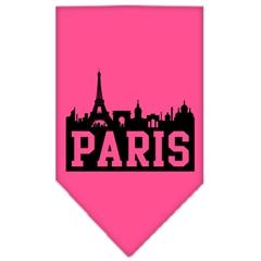 Mirage Pet Products Paris Skyline Screen Print Bandana Bright Pink Small