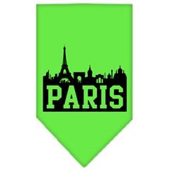 Mirage Pet Products Paris Skyline Screen Print Bandana Lime Green Small