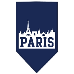 Mirage Pet Products Paris Skyline Screen Print Bandana Navy Blue large