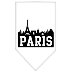 Mirage Pet Products Paris Skyline Screen Print Bandana White Large