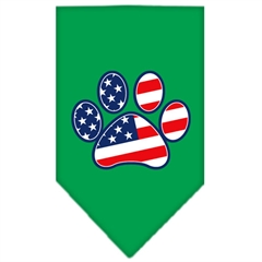 Mirage Pet Products Patriotic Paw Screen Print Bandana Emerald Green Large
