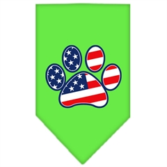 Mirage Pet Products Patriotic Paw Screen Print Bandana Lime Green Large