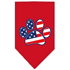 Mirage Pet Products Patriotic Paw Screen Print Bandana Red Small