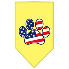 Mirage Pet Products Patriotic Paw Screen Print Bandana Yellow Small