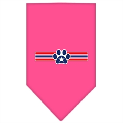 Mirage Pet Products Patriotic Star Paw Screen Print Bandana Bright Pink Large