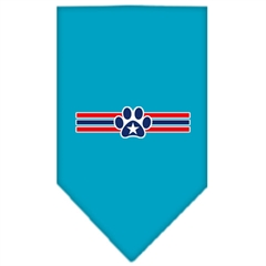 Mirage Pet Products Patriotic Star Paw Screen Print Bandana Turquoise Small