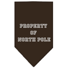 Mirage Pet Products Property of North Pole Screen Print Bandana Cocoa Large