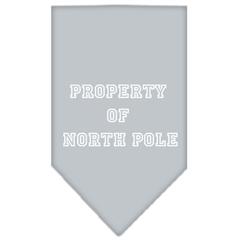 Mirage Pet Products Property of North Pole Screen Print Bandana Grey Small