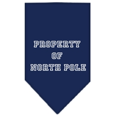 Mirage Pet Products Property of North Pole Screen Print Bandana Navy Blue Small