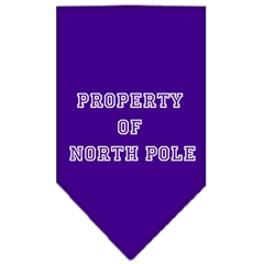 Mirage Pet Products Property of North Pole Screen Print Bandana Purple Large