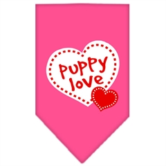 Mirage Pet Products Puppy Love Screen Print Bandana Bright Pink Large